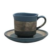 【日本製】墨色 陶製馬克杯盤組 藍色 SD-6305 -