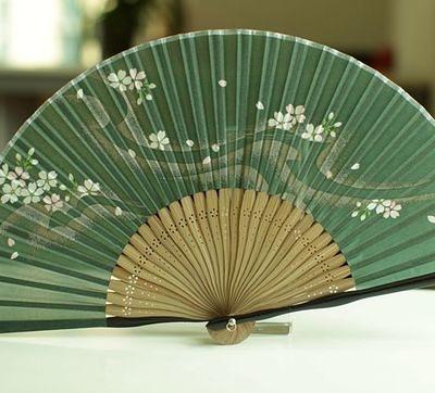 真絲扇 墨綠櫻花
