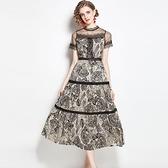 短袖連身裙-印花網紗蕾絲花邊女洋裝74ae33【巴黎精品】