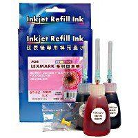 LEXMARK印表機10N0026(27)/18L0042/15M0120三彩填充墨水組(黃/藍/紅)省錢DIY含工具組簡單好填充適Z35/X75/x1185