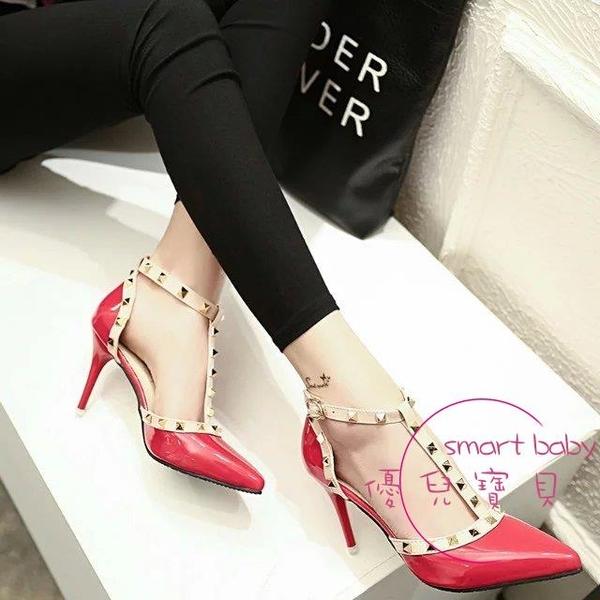 鉚釘高跟鞋丁字鞋女性感細跟尖頭中空鞋正韓時尚漆皮單鞋大尺碼女鞋 【快速出貨】