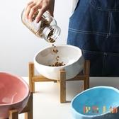陶瓷貓碗貓食盆保護頸椎貓咪狗狗水碗糧碗【倪醬小舖】