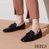 樂福鞋-HERLS 隨性自在 全真皮流蘇方頭樂福鞋-黑色