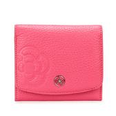 CLATHAS 山茶花壓印荔枝紋軟皮壓釦零錢袋短夾(粉紅色)200121-32