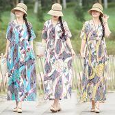 洋裝 連身裙 短袖棉麻連衣裙女2019夏新款復古民族風中大尺碼印花寬鬆顯瘦大擺長裙