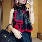春秋夏季新款絲巾網紅款字母圍巾披肩長款仿真絲印花百搭配飾送禮 黛尼時尚精品