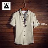 短袖襯衫 七分袖襯衫男短袖韓版修身亞麻襯衣男士中袖衣服青少年寸衫夏季潮·夏茉生活