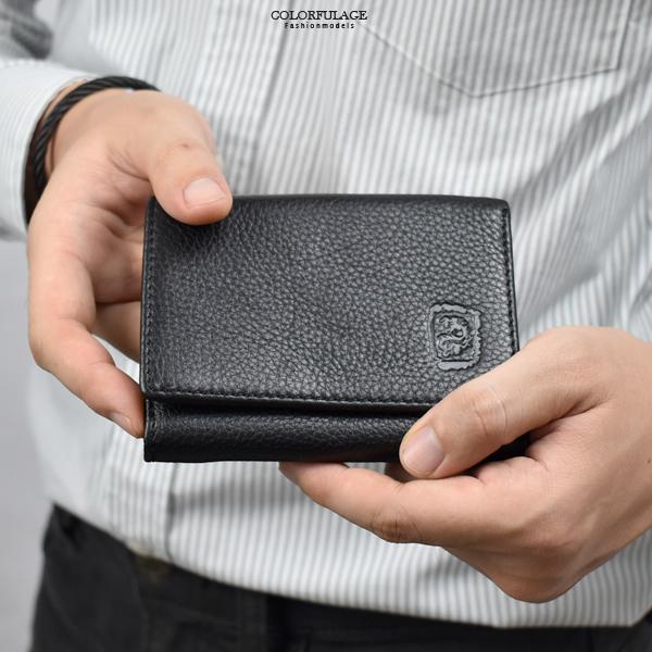 真皮短夾 個性壓紋黑色小皮夾NWA6