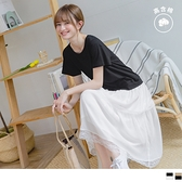 《DA7907-》唯美絲紋層次蕾絲假兩件拼接高含棉寬鬆長洋裝 OB嚴選