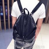 雙肩包 男韓版個性時尚潮包新款背包休閒鉚釘包潮流水洗皮包   草莓妞妞