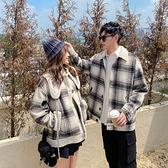 情侶毛呢外套 秋冬新款韓版格子羊羔毛拼接呢子短款外套 女氣質韓國夾克潮情侶裝