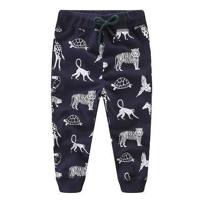 男Baby男童純棉長褲深藍色動物印花休閒褲運動褲現貨歐美品質