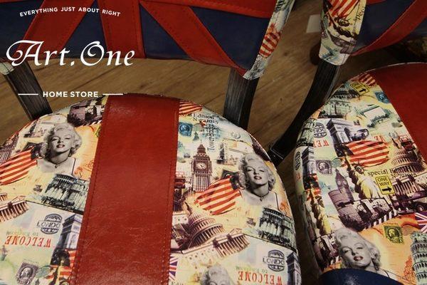 ART ONE 居家設計館DW252004英國風皮面鐵腳椅