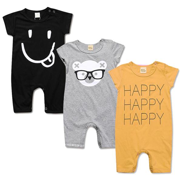 嬰兒短袖兔裝 HAPPY 短袖連身衣 寶寶連身裝 SK2222 好娃娃