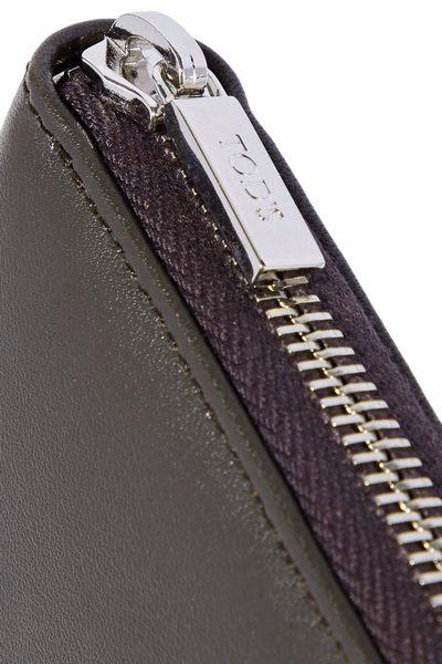 TOD'S 經典設計長夾 皮夾 縫線設計 壓紋牛皮 深咖啡
