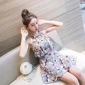 泳衣女連體裙式保守遮肚韓國學生溫泉性感小清新泳裝『伊莎公主』