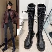 長筒靴女不過膝2019秋季新款高筒靴馬丁瘦瘦靴子騎士靴綁帶長靴冬