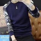 【Y111】shiny藍格子-展現自我.秋冬碎花撞色拼接圓領長袖T恤