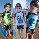 兒童泳裝~兒童泳衣男孩防曬速干分體泳裝男童小學生中大童泳褲寶寶溫泉泳衣-薇格嚴選