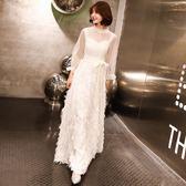 【新年鉅惠】晚會顯眼禮服宴會晚禮服裙女新款高貴優雅顯瘦高端大氣年會晚會黑色長款冬