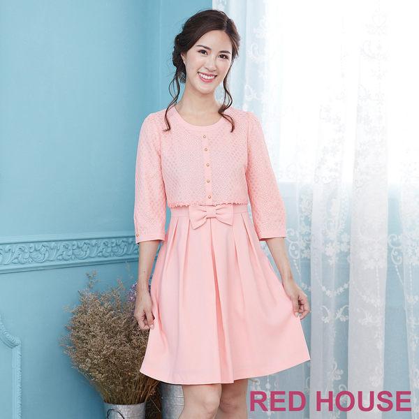 Red House 蕾赫斯-閃亮金蔥紋路假兩件洋裝(共2色)
