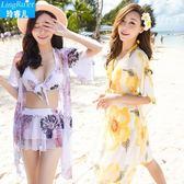 韓國泳衣女三件套比基尼分體裙式保守遮肚小胸聚攏性感泡溫泉游泳   可然精品鞋櫃