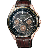 限量款 CITIZEN Eco-Drive 鈦 光動能GPS衛星對時錶-玫瑰金框x咖啡/43mm CC9016-01E