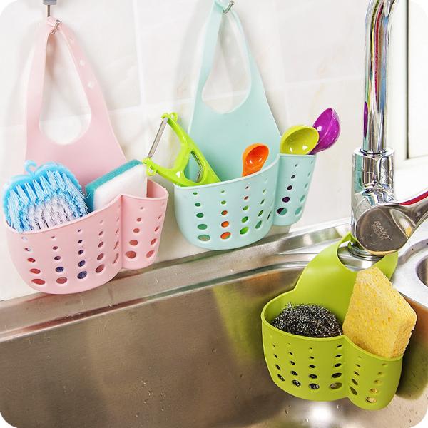 現貨 廚房瀝水籃水龍頭掛袋收納掛籃水槽置物架【步行者戶外生活館】