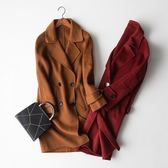 毛呢大衣-羊毛優雅長版直筒英倫風女外套2色73op27[巴黎精品]
