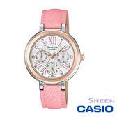 CASIO SHEEN 玫瑰金三眼粉色皮帶女錶 34mm 星期日期顯示  SHE-3034BGL-7A 公司貨   高雄名人鐘錶