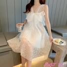 露背洋裝女馬爾代夫白色很仙的連身裙女夏吊...
