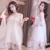 主播超仙洋裝網紅新款性感一字領露肩鏤空網紗訂珠抹胸蓬蓬裙連身裙