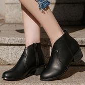 D+AF 自信Look.素面小V口低跟短靴*黑