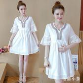 復古典雅民族風寬鬆顯瘦孕婦洋裝新款時尚短袖中長款V領刺繡連身裙 JA6309『毛菇小象』