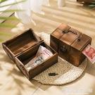實木帶鎖存錢罐復古藏寶箱網紅儲蓄罐只進不出創意成人兒童禮物 完美居家生活館