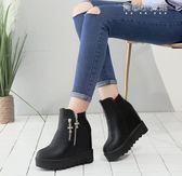 馬丁靴  厚底短靴女鬆糕鞋坡跟內增高馬丁靴百搭女靴子女鞋 育心小賣館