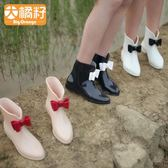 BigOrange韓國可愛時尚中筒短筒防滑雨鞋雨靴套鞋水鞋女成人女士