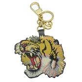 GUCCI 古馳 Tiger Keychain GG Supreme 鑰匙圈【二手名牌 BRAND OFF】