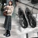 小皮鞋女2021秋冬新款英倫風厚底系帶單鞋復古院風jk制服女鞋 新年禮物