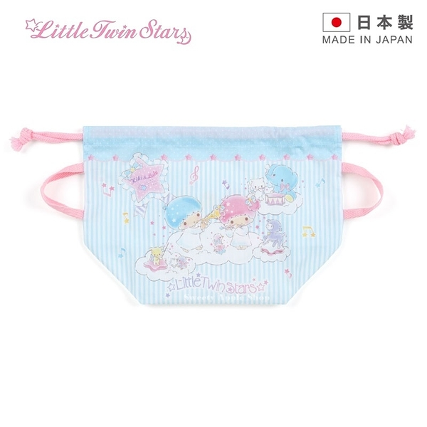 【 日本製 】日本限定 三麗鷗 KIKILALA 雙子星 音樂雲朵版 束口袋 / 便當袋 / 餐袋