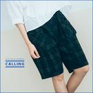 褲子  無印系設計口袋格紋棉麻短褲  三色-Calling