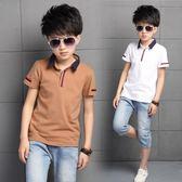 童裝男童短袖t恤純棉夏季新款兒童T恤中大童翻領上衣POLO衫潮