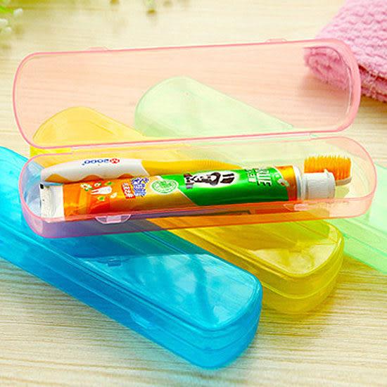 ◄ 生活家精品 ►【G44】果凍色洗漱收納盒 牙刷 牙膏 旅行 餐具 筷子 湯匙 叉子 便攜 卡扣 瀝水