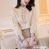 真絲襯衫-香檳色真絲襯衫女2021年夏新款時尚木耳邊立領鏤空短袖桑蠶絲上衣