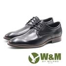 W&M  素色極簡綁帶男皮鞋-黑(另有棕)