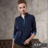 【JEEP】女裝 撞色滿版印花造型長袖襯衫 (海軍藍)