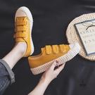 小白鞋百搭板鞋魔術貼餅干帆布鞋女【愛物及屋】