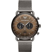 【台南 時代鐘錶 Emporio Armani】亞曼尼 AR11141 義式品味 洗鍊氣質三眼計時腕錶 金屬灰 43mm