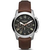 【台南 時代鐘錶 FOSSIL】FS4813 紳士品味羅馬時標三眼計時腕錶 皮帶 黑/咖啡 44mm