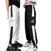 EASON SHOP(GW7137)實拍黑白撞色線條大口袋字母刺繡鬆緊腰抽繩綁帶工裝褲休閒褲直筒褲九分褲運動褲